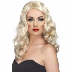 Lange blonde damespruik krullen