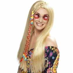 Lange blonde hippie pruik dames