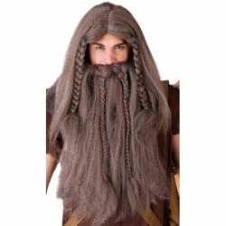 Lange bruine viking pruik baard
