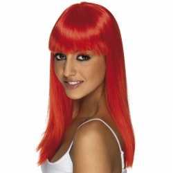 Lange damespruik neon rood