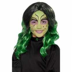 Lange zwart groene meisjespruik krullen