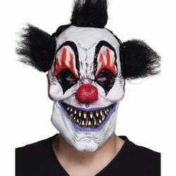 Latex killer clown masker zwart haar