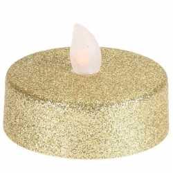 Led theelichten/waxinelichten glitter goud 2 stuks flakkerend