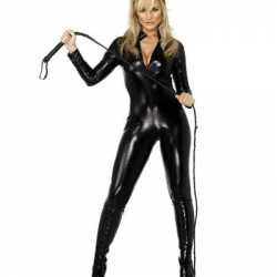 Lederlook catsuit zwart dames