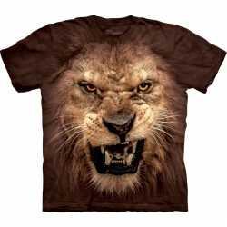 Leeuwen t shirt bruin volwassenen