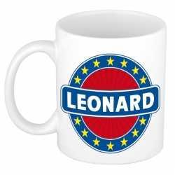 Leonard naam koffie mok / beker 300 ml