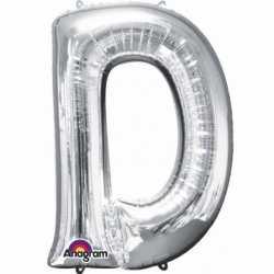 Letter D ballon zilver 86