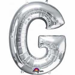 Letter G ballon zilver 86