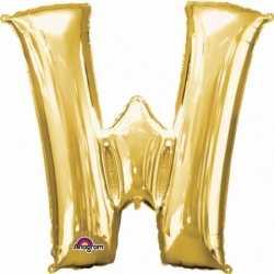 Letter W ballon goud 86