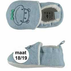 Lichtblauwe babyslofjes nijlpaard maat 18/19