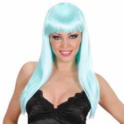Lichtblauwe damespruik lang haar