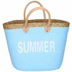 Lichtblauwe rieten strandtas summer 20 liter