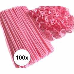 Lichtroze ballonstaafjes 100 stuks
