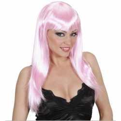 Lichtroze damespruik lang haar