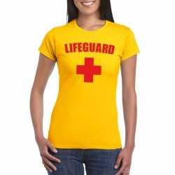 Lifeguard/ strandwacht verkleed shirt geel dames