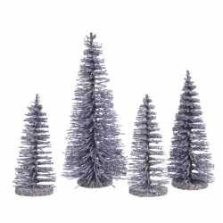 Lila kleine paarse kunst kerstboom glitter 15 4 stuks