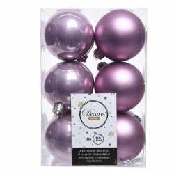 Lila paarse kerstversiering kerstballen 24x kunststof 6