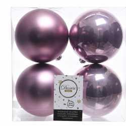 Lila paarse kerstversiering kerstballen 8x kunststof 10