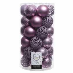Lila paarse kerstversiering kerstballenset kunststof 6 36x
