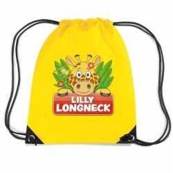 Lilly longneck de giraffe rugtas / gymtas geel kinderen