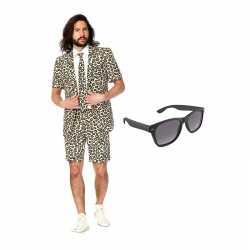 Luipaard print zomer kostuum maat 46 (s) gratis zonnebril