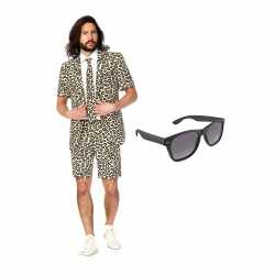 Luipaard print zomer kostuum maat 48 (m) gratis zonnebril