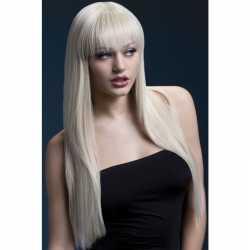 Luxe blonde lange damespruik jessica dames