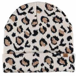 Luxe gebreide kindermuts luipaard print beige