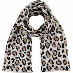 Luxe gebreide kindersjaal luipaard print beige
