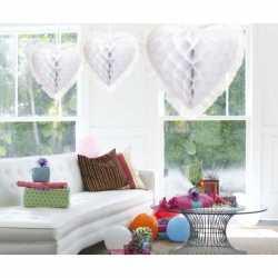 Luxe hangdecoratie hart wit 30