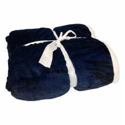 Luxe vachtdeken zwart/blauw art print 140 bij 200