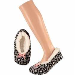 Meisjes ballerina pantoffels/sloffen luipaard grijs maat 28 30