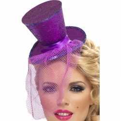 Mini paarse hoge hoed op diadeem