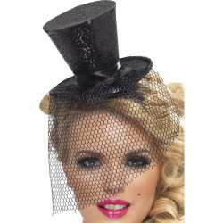 Mini zwarte hoge hoed op diadeem