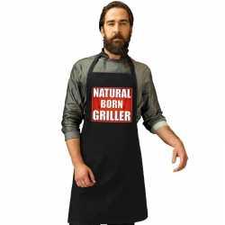 Natrural born griller barbecueschort/ keukenschort zwart heren