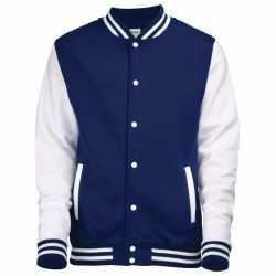Navy wit college jacket heren