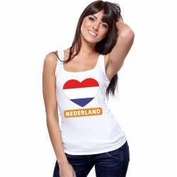 Nederland hart vlag singlet shirt/ tanktop wit dames