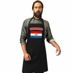 Nederland vlag barbecueschort/ keukenschort zwart volwassenen