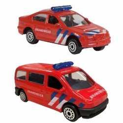 Nederlandse brandweer speelgoed modelauto set 2 dlg