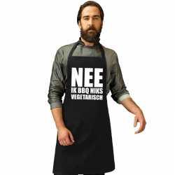 Nee niks vegetarisch barbecueschort/ keukenschort zwart heren