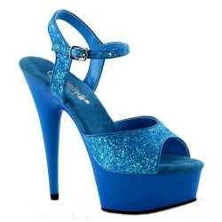 Neon blauwe glitter sandalen Caydence