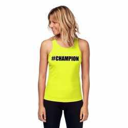 Neon geel kampioen sport shirt/ singlet #champion dames