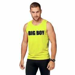 Neon geel sport shirt/ singlet big boy heren