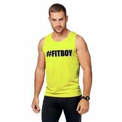 Neon geel sport shirt/ singlet #fitboy heren