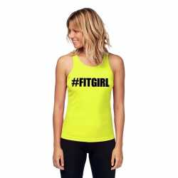 Neon geel sport shirt/ singlet #fitgirl dames