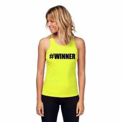 Neon geel winnaar sport shirt/ singlet #winner dames