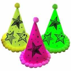 Neon gekleurde partyhoedjes 3 stuks