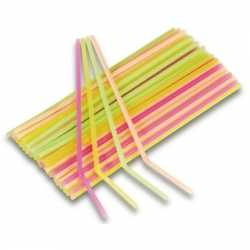 Neon kleuren rietjes 40 stuks