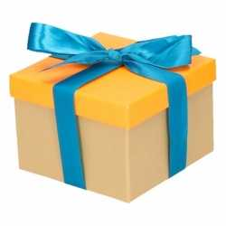 Neon oranje cadeaudoosje 13 blauwe strik