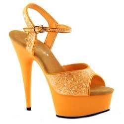 Neon oranje glitter sandalen Caydence